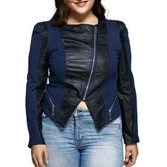 Diagonal Zipper Asymmetric Leather Spliced Jacket