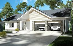 Zdjęcie projektu Evita Optima wersja A Exterior Paint Colors For House, Dream House Plans, Florida Home, Home Fashion, House Painting, Floor Plans, Cottage, Outdoor Structures, House Design