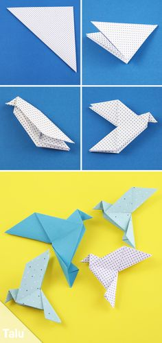 Kostenlose Faltanleitung - Origami Taube falten - Talu.de Diy Paper, Paper Folding Crafts, Paper Crafts, Diy Crafts For Kids, Pigeon, Origami Blume, Origami Box, Origami Paper, Paper Flowers