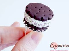 ''Creamy biscuit'' -Silver plated adjustable ring base!  -Yummy creamy biscuit decorated with light green and lilac sprinkles!