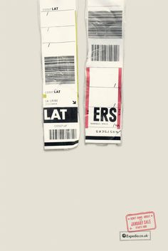 Expedia print advertising campaign by Ogilvy Mather uses IATA airport codes to form clever, travel-related phrases. Creative Advertising, Print Advertising, Advertising Campaign, Ads Creative, Creative Design, Creative Ideas, Fukuoka, Cannes, Luggage Stickers