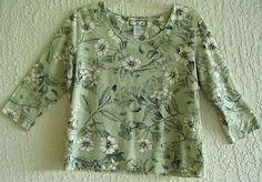 CARIBBEAN JOE Womens Blouse Top Hawaiian Print size Petite Extra Large $9.99