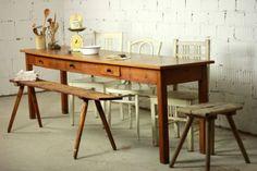 484-Antiker-langer-Esstisch-250cm-Kneipentisch-Schubladen-Tisch-antik