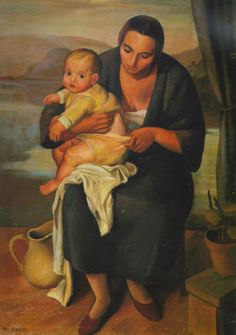 Painting by Mario Tozzi, 1924, Madonna col Bambino, oil on canvas. (I)
