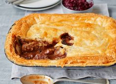 Game pie with sweet cranberry gravy Butter Puff Pastry, Pastry Recipes, Your Recipe, Pie Dish, Gravy, Food To Make, Good Food, Easy Meals, Juice