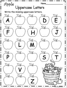 math Free Kindergarten Letter Writing Worksheet for Fall ApplesWrite the missing uppercase letters on the apples. There are two pages included in this sample page is from my September Packet fo Letter Writing Worksheets, English Worksheets For Kindergarten, Nursery Worksheets, Printable Preschool Worksheets, Preschool Learning Activities, Kindergarten Writing, Abc Worksheets, Tracing Letters, Free Printable Kindergarten Worksheets