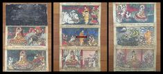 1037 Vintage Myanmar Buddhist Folk Manuscript with Paintings #art  #manuscript #burma #painting #buddhist