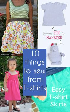 10 Upcycle Tutorials - Melly Sews  love the tshirt skirt with pockets!