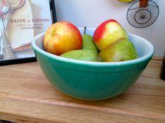 Vintage 1940s Green Pyrex Fruit - Salad - Pasta - Mixing Bowl. $12.00, via Etsy.