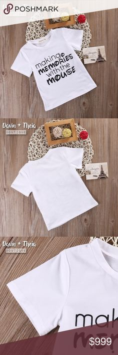 Arriving Monday‼️ 💖Making Memories T-Shirt 🌟BRAND NEW🌟  White letter print short sleeve t-shirt for boys or girls. Materials are cotton and polyester. Limited quantity. RESERVE YOURS NOW!  💟Size Chart are approximate measurements,  please allow a few inches difference.  💟Please ask questions before purchasing. 💖 💟PRICE is FIRM 💟NO Trades Shirts & Tops Tees - Short Sleeve