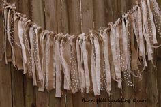 5 ft Burlap Garland Wedding Rag Banner by BarnHillWeddingDecor Burlap Garland, Ribbon Garland, Fabric Garland, Burlap Lace, Cumpleaños Shabby Chic, Rag Curtains, Baby Shower Chair, Rag Banner, Garland Wedding