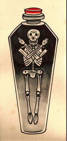 Skeleton in coffin tattoo estampa Future Tattoos, Love Tattoos, Body Art Tattoos, Tattoo Drawings, New Tattoos, Tatoos, Tatuagem Old Scholl, Coffin Tattoo, Tatto Old