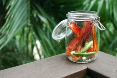 KitchenKonfidence has an amazing bacon vodka recipe. This delifghtful recipe combines bacon and habenero peppers to create a bacon infused vodka perfect for a spicy and delicious bloody mary.