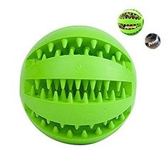 Pets Bouncy Rubber Interactive Dog Toys Tooth Brushing Cleaning Treat IQ Balls Crewing Toys for Dog Training Playing 28In Green *** Want additional info? Click on the image.