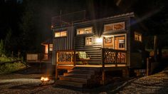 Tiny house at night - Shangri-Little at Live A Little Chatt