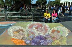 Cheryl and Wayne Renshaw combining three Alphonse Mucha paintings: Topaz, Amethyst, and Emerald at the 2011 Santa Barbara I Madonnari Festival