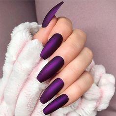Stunning Long Nail Art Types & Tips for 2019 - Nails Gel Nails - . - Stunning Long Nail Art Types & Tips for 2019 - nails gel nails - # Gelnägel - Dark Purple Nails, Mint Nails, Dark Nails, Purple Nail Art, Purple Chrome Nails, Violet Nails, Matte Nail Art, Gradient Nails, Holographic Nails