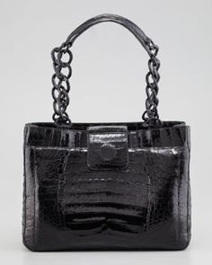 L02J5 Nancy Gonzalez Small Chain Crocodile Tote Bag, Black