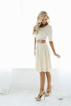 The Samantha in Cream Lace. We love how elegant and beautiful this dress is!