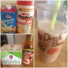 Carmel Frap Protein Shake This literally tastes like Starbucks or Dutch Bros 24P/1.5C/0.5F 1 plain black iced coffee/any black coffee 1 packet stevia 1 scoop vanilla protein 1-2tbps Walden Farms sugar free, calorie free, Carmel sauce unsweetened Almond milk (to your liking) Ice cubes/Frozen almond milk cubes Blend it all up and pour back in the cup! Youll forget its healthy and sugar free ;)