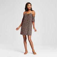 Women's Ditsy Floral Cold Shoulder Lace Up Dress Black L - Le Kate (Juniors')
