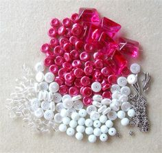 DIY Jewlery Kit Glass Bead Kit Glass Pearls Beads Pink White Craft Supplies Bead…