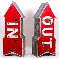 """old roadside motel neon light """"in"""" and """"out"""" arrow signs - c. 1940's starlight motel  UR #: UR-2338-09"""