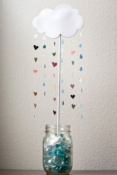 baby shower, with raindrops into fish bowl Raindrop Baby Shower, Baby Shower Pin, Baby Shower Parties, Baby Shower Gifts, Baby Shower Decorations For Boys, Baby Shower Centerpieces, Baby Shower Themes, Cloud Baby Shower Theme, Table Centerpieces