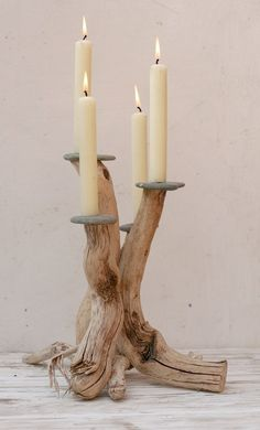 Driftwood Candle holder,Driftwood Candelabra,Driftwood candle stand,Table centre (Diy Candles) Polish it up and I'm all over it. Driftwood Furniture, Driftwood Projects, Driftwood Art, Driftwood Ideas, Beach Crafts, Diy And Crafts, Driftwood Candle Holders, Diy Candle Holders, Deco Nature