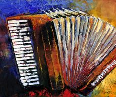 Rockin' Squeeze Box is a cajun style accordion. It was created with oil paints using a palette knife on an acrylic colourful background.