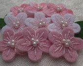 Felt Flowers - set of 9 - soft pink & white