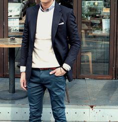 Fall / Winter - casual style - street style - black slim fit blazer + white pocket square + dark blue chinos + brown belt + cream round neck sweater + light blue shirt