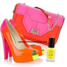 neon bags and shoes