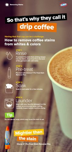 Tips for removing coffee stains.
