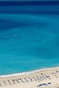 Myrtos Beach in Kefalonia, Greece Absolutely spectacular waters. But too crowded to truly relax.