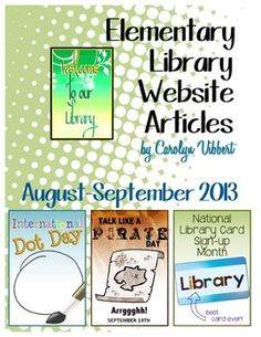 Elementary Library Website Posts for August-September 2013. Great if you can't seem to keep your school website updated! | riskingfailure.blogspot.com