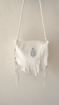 Deerskin Leather Fringe Turquoise Beaded by  s m o k e + a r r o w Leather