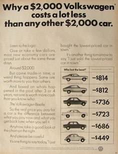 Features a depreciation value chart for 1969 model cars including the Nova, Opel, Datsun Rambler American, Toyota Corolla, and the VW Beetle. Volkswagen Beetle Vintage, Car Volkswagen, Toyota Tacoma Trd, Toyota Corolla, Hot Vw, Vw Vintage, Cadillac Srx, Datsun 510, Car Advertising