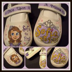 Sofia the First hand painted shoes. $45.00, via Etsy.