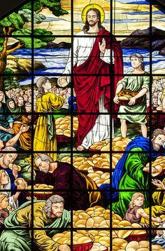 Detail from a stained glass window in the church of San Lorenzo Ruiz in Manila, the Philippines.