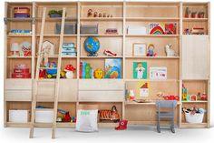 Lundia original kinder meubelen / Wall of shelves with ladder and desk, kids room