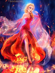 Here Elsa is depicted as a fire queen instead of an ice queen, but I think it'd be better if they made a sequel and Anna found that she is the fire queen. More believable.