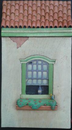 """Projeto """"Casa Colonial"""". Peça entalhada e pintada a mão em cedro(À Venda)."""