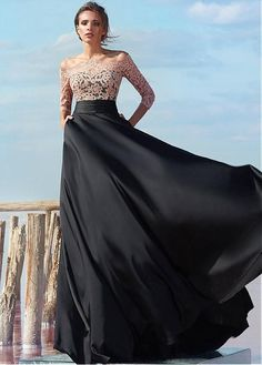 Buy discount Luxury Satin Chiffon Off-the-shoulder Neckline A-line Evening Dresses With Lace Appliques at Dressilyme.com
