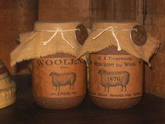 16 Oz. Sheep Jar Candles-jar candle, candles, primitive, grungy, primitive jar candle, soy, soy candle, grungy soy candle, sheep, sheep label, primitive sheep label, primitive soy candle