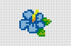 Blue Hibiscus Pixel Art – Famous Last Words Tiny Cross Stitch, Cross Stitch Flowers, Cross Stitch Designs, Cross Stitch Patterns, Cross Stitch Animals, Motifs Perler, Perler Patterns, Grille Pixel Art, Cross Stitching