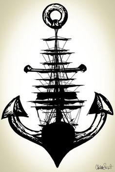 Sailing Ship w/ Anchor // Nautical Ship and Anchor by Clarafornia: