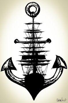 Sailing Ship w/ Anchor // Nautical Ship and Anchor by Clarafornia: