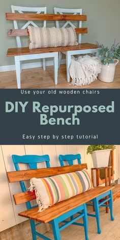 Read my easy step by step tutorial to repurpose your old kitchen chairs into this cute little bench for your mudroom. You may even already have all the materials hanging around at your house. Wooden Chair Makeover, Furniture Makeover, Diy Furniture, Kitchen Chair Makeover, Painted Furniture, Furniture Design, Chair Design, Design Design, Modern Furniture