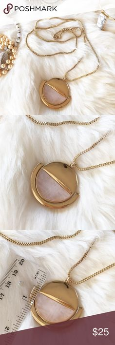 "- PINK STONE & GOLD CIRCLE NECKLACE - 1/2 Circle pink stone with 1/2 gold detail.  Gorgeous necklace easy to wear with anything! Wear with jeans and a cozy sweater for a casual look or wear with a button down shirt and heels for work! Stone varies slightly for each piece. Adjustable gold box chain length:  29"" - 31"" Perfect Stocking Stuffer! Pair with other jewelry accessories in my closet for 20% off!  No trades / selling off of Posh.  ✨Offers always welcome!✨ Claire Louise Boutique J..."
